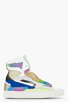 RAF SIMONS White & Blue Leather Holographic Space Sneakers