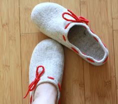 Felted wool women slippers natural beige and red  by AgnesFelt, $89.00
