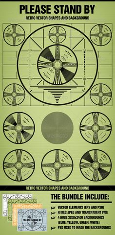 Please stand by Television Test Pattern Backgrounds Decorative Template Vector EPS. Download here: http://graphicriver.net/item/please-stand-by-television-test-pattern/160334?s_rank=95&ref=yinkira