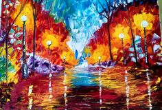 Palette knife painting by Sue Schenck    SOLD