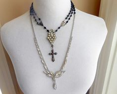 Vintage Rosary Assemblage Necklace Gothic Cross Long by Vinchique
