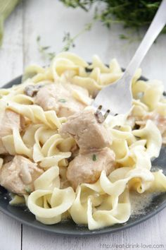 Slow Cooker Chicken Stroganoff - Make this classic dish right in your slow cooker! Chicken is cooked until tender in an easy, creamy gravy over egg noodles. Slow Cooker Recipes, Crockpot Recipes, Slow Cooker Chicken Stroganoff, Egg Noodles, Gravy, Macaroni And Cheese, Dishes, Drink, Eat