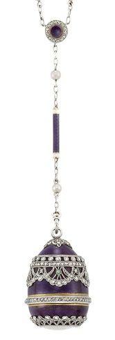 Belle Époque Platinum, Gold, Purple Guilloché Enamel, White Enamel, Pearl & Diamond Pendant-Watch with Chain, ca 1905