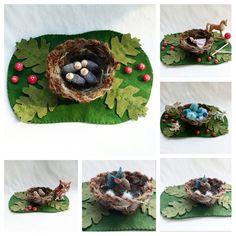 Nest Playscape Play Mat - wool felt storytelling fairytale - Dollhouse woodland fairy house bird oak leaf
