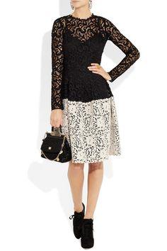 Dolce & Gabbana|Lace-effect macramé wool-blend dress|NET-A-PORTER.COM