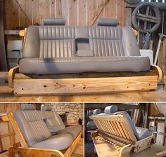 You will need : Wooden planks Car seats >> Go to the next idea Car Part Furniture, Automotive Furniture, Automotive Decor, Pipe Furniture, Recycled Furniture, Pallet Furniture, Modern Furniture, Car Sofa, Diy Bed
