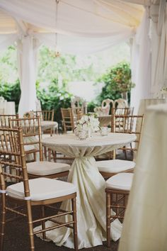 Garden Wedding Venue | Soft Draping | Gold Chiavari Chairs from @Southern Events - Photo: Ulmer Studios