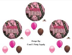 PINK MOSSY OAK Camouflage Happy Birthday Party Balloons Favors Decorations Supplies -- For more information, visit image link. (This is an affiliate link) Pink Camo Birthday, Pink Camo Party, Pink Happy Birthday, Hunting Birthday, Happy Birthday Balloons, 19th Birthday, Pink Camo Cakes, Camo Party Supplies, Happy Birthday Parties