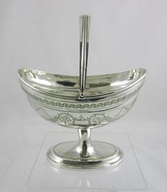 Georgian Irish Silver Swing-handled Basket.   435864   Sellingantiques.co.uk