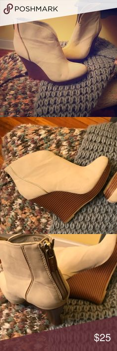 Jennifer Lopez wedge booties Cream, gold and brown Jennifer Lopez wedges. Size 7. Some signs of wear but still in good condition Jennifer Lopez Shoes Wedges