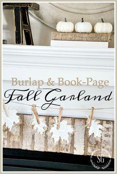 BURLAP AND BOOK-PAGE BURLAP GARLAND