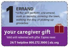 Cool Caregiver Coupon Book! GREAT gift idea #alzheimers #tgen #mindcrowd www.mindcrowd.org