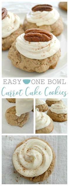 Easy One Bowl Carrot Cake Cookies with Cream Cheese Frosting. (kind of homemade, but so simple with this cheater trick!)