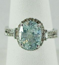 "14K WG ""Ice Blue"" Cuprian Tourmaline & Diamond, Size 7 1/2 from 4sot on Ruby Lane"