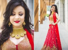 Grand WeddingSutra on Location  Bride-to-be Dr Aditi Parikh in a bright red ensemble from Aza and contemporary Azva jewellery, blogs about her makeover experience here