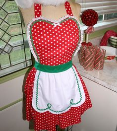 Retro apron Christmas apron 50s Red green Polka Dot full apron sexy holiday hostess pin up vintage inspired. $32.00, via Etsy.