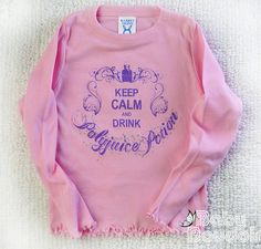 HARRY POTTER Toddler Girls Shirt Polyjuice Potion --Keep Calm & Drink Polyjuice Potion. Pastel Pink Cotton Ruffle Edged Long SleeveTee