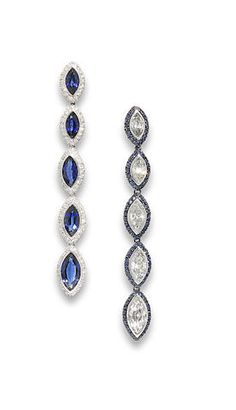 Sapphire and diamond earrings, by Chantecler