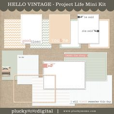 HELLO VINTAGE Mini Kit for Project Life. $5 via Plucky Momo.