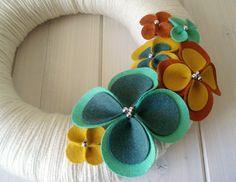 Yarn Wreath Felt Handmade Door Wall Decoration - Warm Up 12in. $45.00, via Etsy.