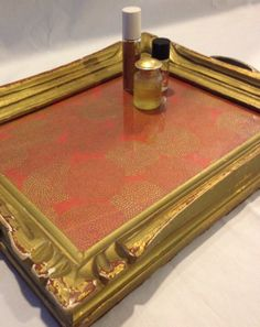 Upcycled antique gold and red distressed frame tray with vintage brass pulls and vintage inspired red and gold paper by Dstressedhome