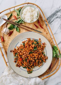 Vegan Pad Krapow (Thai Basil Stir-fry) (The Woks of Life) Steamed Eggs, Steamed Tofu, Homemade Brioche, Brioche Recipe, Pan Fried Noodles, Rice Noodles, Seitan Chicken, Thai Basil Chicken