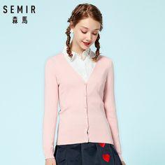 e7089e7b7 Barato SEMIR camisola De Malha Cardigan 2018 Outono Das Mulheres Sólida  Simples Inferior Reta Vestindo suéter