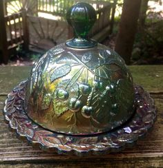 I so love this butter dish!  I would love to have this in my collection! CARNIVAL MILLERSBURG HANGING CHERRIES BUTTER DISH