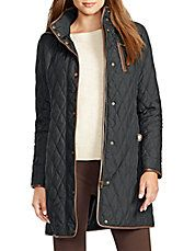 Faux Leather-Trimmed Quilted Trench Coat