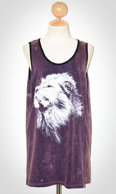 Lion Face Bleached Blue Purple Violet Sleeveless Tank Top Art Indie Singlet Size L