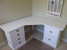 New Corner Desk - clever idea for a craft room or corner.I already have the corner desk Corner Makeup Vanity, Vanity Set, Guest Room Office, Office Spaces, Corner Office Desk, White Corner Desk, Small Corner Desk, Corner Drawers, Corner Space