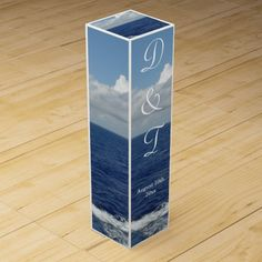 Ocean Waves Fluffy White Clouds Blue Sky.  Beautiful Monogrammed Wedding Wine Box Favors.  Dress up your wine bottles with these beautiful custom Wine Bottle Boxes.  PERSONALIZE with YOUR Initials and DATE of Wedding.  Original Photography design by TamiraZDesigns via:  www.zazzle.com/tamirazdesigns*