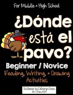 Spanish Thanksgiving activities for beginner / novice students. Read, write, and draw to learn prepositions of location. By Sol Azúcar.