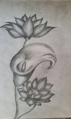 Flori desen in creion