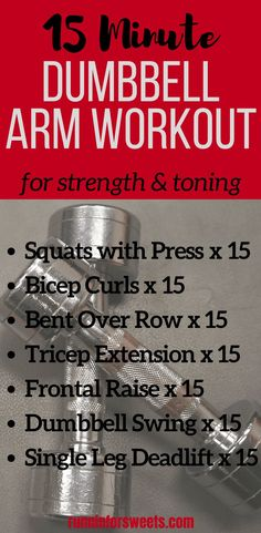 Simple 15 Minute Dumbbell Arm Workout This at home dumbbell workout for arms is the best upper body strength training routine. Tone your arms and add muscle with these simple arm exercises. In just 15 minutes, this arm workout with dumbbells will help you Home Strength Training, Strength Training For Beginners, Strength Training For Runners, Body Training, Training Tips, Ninja Training, Training Exercises, Weight Training, Dumbbell Workout At Home