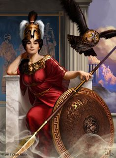 """Athena was the great Greek Olympian goddess of wise counsel, war, the defense of towns, heroic endeavor, weaving, pottery and other crafts. She was depicted crowned with a crested helm, armed with shield and spear, and wearing the snake-trimmed aigis cloak wrapped around her breast and arm, adorned with the monstrous head of the Gorgon."""