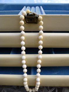 Vintage Ivory Bead NecklacePreBan18 Wedding by My3LadiesJewelry, $65.00