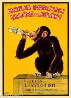 Decorate your space with vintage whimsy! A cheeky chimp takes a swig of dessert liqueur in this playful vintage art poster. This framed and texture-glazed poster comes hand-finished with a non-reflect Posters Vintage, Retro Poster, Vintage Art, Vintage Wine, Unique Vintage, French Posters, Italian Posters, Retro Ads, Vintage Ephemera