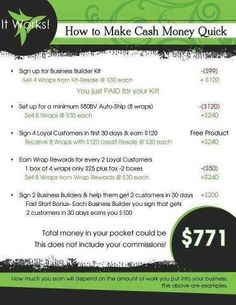 Interested in becoming a Distributor? Check this out!! $200 bonuses if enrolled this week. So make that $971. Ask me for details!!