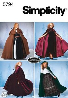 Womens Capes Costume Sewing Pattern 5794 5794, dress patterns, costum, red riding hood, sewing cloaks, cape, simplicity sewing patterns, sew pattern, simplic sew