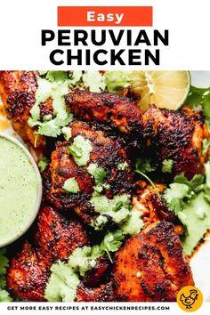 Chicken Legs And Thighs Recipe, Chicken Leg Recipes, Sauce For Chicken, Chicken Meals, Turkey Recipes, Peruvian Cuisine, Peruvian Recipes, Peruvian Dishes, Peruvian Green Sauce Recipe