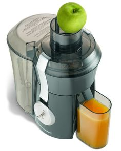 Whether its an invigorating orange or nutrient-rich green, enjoying a fresh glass of homemade juice has never been easier. With its large chute and powerful motor, the Hamilton Beach Big Mouth Pro Juice Extractor makes quick work of fruits and vegeta Specialty Appliances, Small Appliances, Kitchen Appliances, Kitchen Gadgets, Kitchens, Juicer Reviews, Centrifugal Juicer, Juicer Machine, Best Juicer