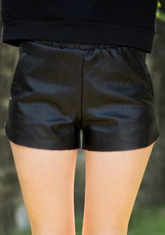 PU Middle Rise Shorts - Black