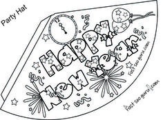 Print Out Happy New Year Party Hat Coloring Template For Kidsfree Online Activities Hats Colorin Preschoolhappy