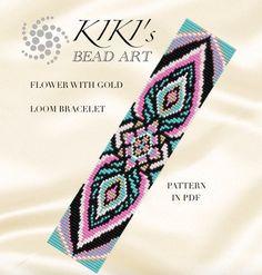 Bead loom pattern Flower with gold LOOM bracelet por KikisBeadArts