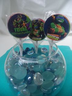 TMNT Teenage Mutant Ninja Turtles Birthday Party Lollipops/Suckers - Perfect for favors, cupcake toppers, etc. - You choose the theme