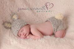 Juego de bebé conejo sombrero y cubre pañal, recién nacidos conejo, sombrero de conejo gris y pañal Cover Set, conjunto de semana Santa de bebé, fotos PROP