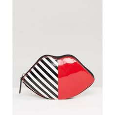 Lulu Guinness Lip Foldaway Shopper Bag ($59) ❤ liked on Polyvore featuring bags, handbags, tote bags, black, zip top tote, shopping bag, nylon purse, lips pursed and nylon tote