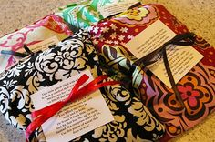 DIY - Therapy Sacks- Heating pad.  There's a great little poem that goes with this too. That's the white tag in the picture. The poem really makes this a cute gift idea for Mother's Day, Christmas, etc.
