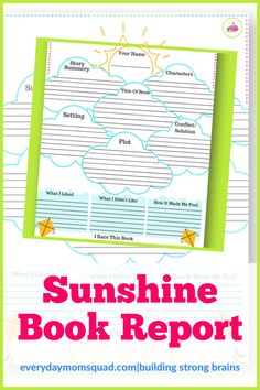 This book report is a fun way to help with kids comprehension and under what they are reading. Great for classrooms, homework, reading groups in class, reading centers for schools, or summer reading. Educational Activities For Kids, Sensory Activities, Infant Activities, Fun Learning, Teaching Kids, Reading Centers, Reading Groups, Sunshine Books, Summer Reading Program